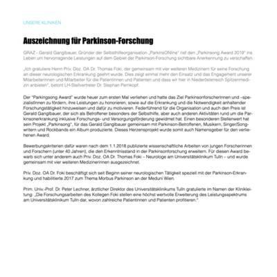 Auszeichnung für Parkinson-Forschung