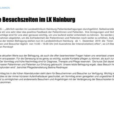 Neue Besuchszeiten im LK Hainburg